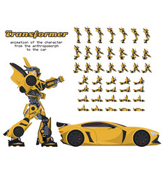 Animation of the transformer character from the vector