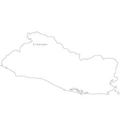 Black White El Salvador Outline Map vector image