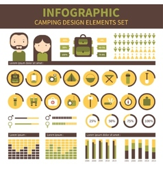 Camping outdoor activity and hiking infographic vector image