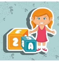 Cartoon girl cube alphabet vector