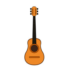 Colorful silhouette acoustic guitar musical vector
