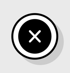 Cross sign flat black icon vector
