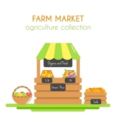 Farm market stall with fruits vector