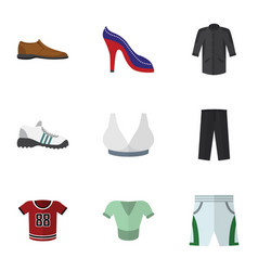Flat icon clothes set of brasserie pants male vector