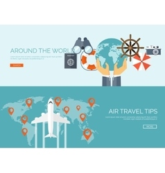 Flat travel background summer holidays vacation vector