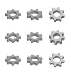 Gear icon set in 3d style vector
