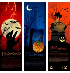 halloween party invitation banners vector image vector image
