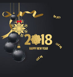 Happy new year 2018 gold and black colors place vector
