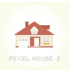 Isolated house in pixel art style 2 vector image vector image