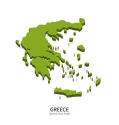 Isometric map of greece detailed vector