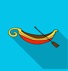 italian gondola icon in flat style isolated on vector image