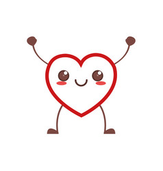 Kawaii heart healthy icon vector