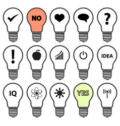 Light bulb symbols with various idea icons eps10 vector