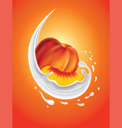 Milk splash with fresh peach vector