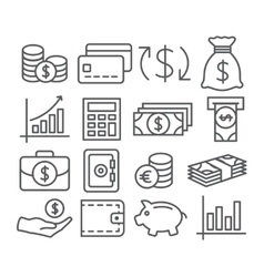 Money Line Icons vector image vector image
