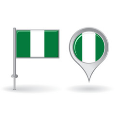 Nigerian pin icon and map pointer flag vector