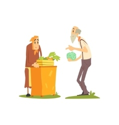 Old woman selling vegetables vector