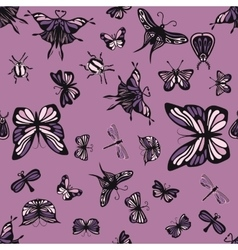 Pink and purple insects seamless pattern vector image