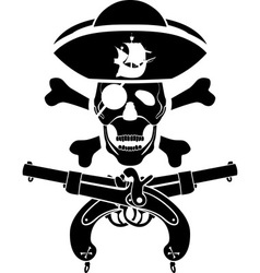 pirate symbol with pistols and skull vector image vector image