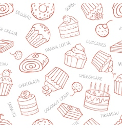 Seamless pattern of sweet cupcakes and cakes on a vector