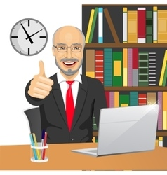 senior businessman making thumbs up hand sign vector image