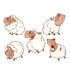Set of cartoon different sheep vector