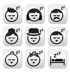 Sleeping dreaming people faces buttons set vector