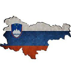 Slovenia map with flag inside vector