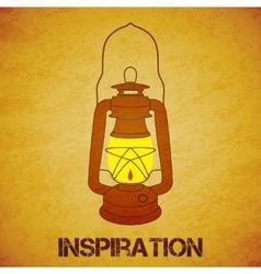 Vintage mine kerosene lantern over yellow grunge vector