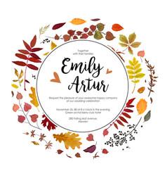 wedding autumn fall invite invitation floral vector image vector image