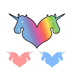 Unicorn lgbt symbol community sign of love and two vector