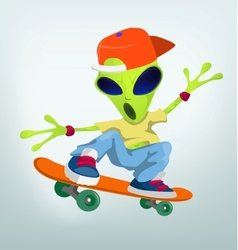 Cartoon alien skateboarding vector