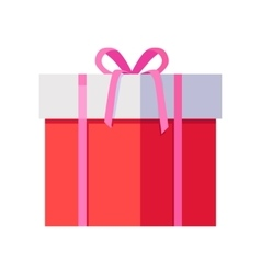 Red gift box with pink ribbon vector