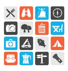 Silhouette camping tourism and travel icons vector