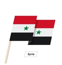 Syria ribbon waving flag isolated on white vector
