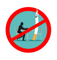 Forbidden to smoke in cafes ban smoking red sign vector