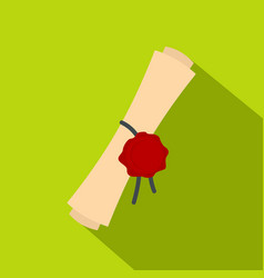 old rolled paper with a red wax seal icon vector image