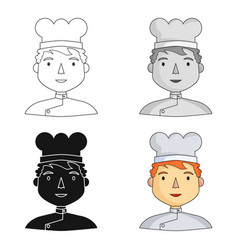 chef icon in cartoon style isolated on white vector image