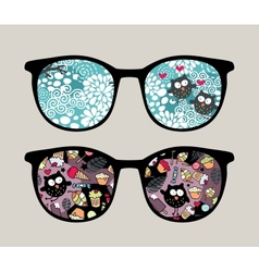 Retro sunglasses with crazy owls reflection vector