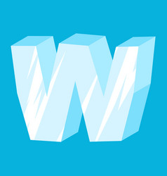 Letter w ice font icicles alphabet freeze vector