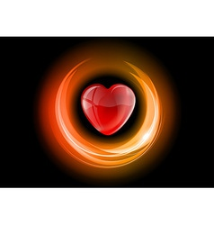 Heart neon light dark orange vector