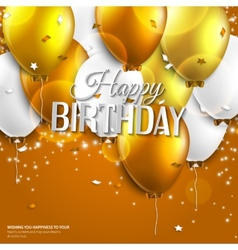 Birthday card with balloons and birthday text on vector