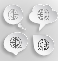Globe and phone white flat buttons on gray vector