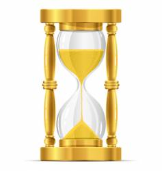 Gold sand glass clock vector