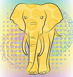 Bright elephant with patterns and mandalas vector