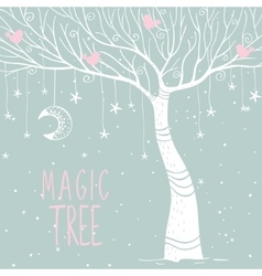 Magic tree night vector