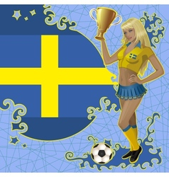 Football poster with girl and swedish flag vector