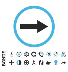 Right rounded arrow flat icon with bonus vector