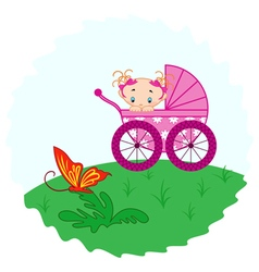 Baby girl from pram watching a butterfly vector image