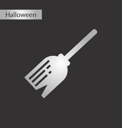 Black and white style icon halloween witchs broom vector